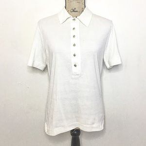 Tory Burch White Half Button Polo T Shirt